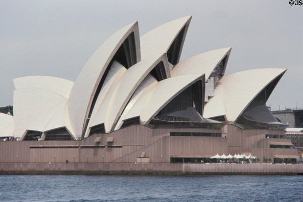 Side view of sail-like architecture of Sydney Opera House. Sydney, Australia.