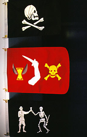 Trio of pirate flags in Pirate Museum. Nassau, The Bahamas.