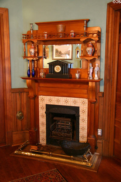 Front room fireplace in Roedde House Museum. Vancouver, BC.