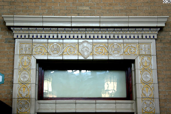 Interior tile details of former CPR Moose Jaw Rail Station. Moose Jaw, SK.