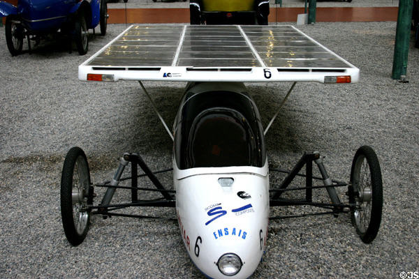 Ensais (1987) single-seat solar electric car, France; 90km/h (0 cylinders) in Schlumpf National Automobile Museum. Mulhouse, France.