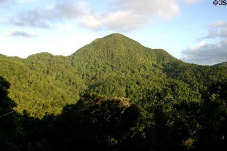 Basse-Terre mountain ridge from route de Traversée (traverse route). Guadeloupe.