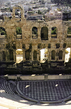 Looking into Herod Atticus Odeum (theatre) from the Acropolis, Athens. Greece.