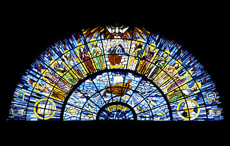 New stained glass (2000) in Basilica Erseki Föszékesegyhaz, Eger. Hungary.