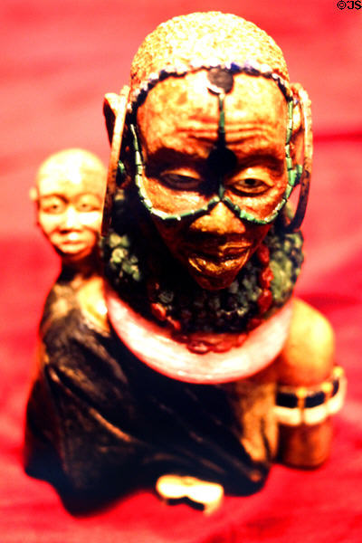 Native head carved in semiprecious stone in a Nairobi jewelry store. Kenya.