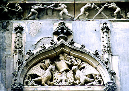 Crest & sword fighters on Wroclaw Town Hall. Poland.