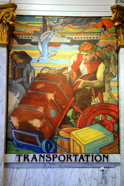 Art Deco mural of Transportation (1930s) by John Augustus Walker at Mobile Museum. Mobile, AL.