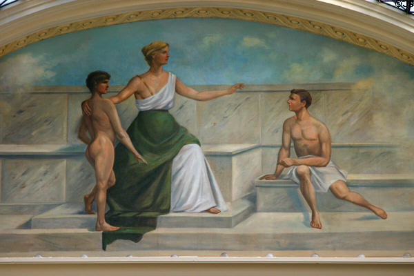 Mural of Spirit of Education by Paul Heerwagen in Arkansas State Capitol. Little Rock, AR.