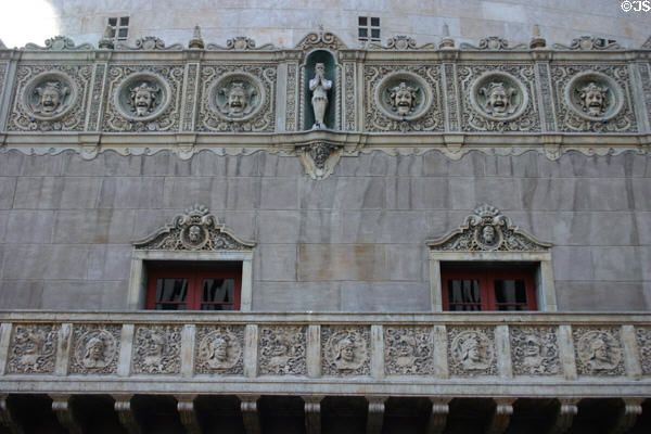 Orpheum Theatre theatrical & military reliefs on facade. Phoenix, AZ.