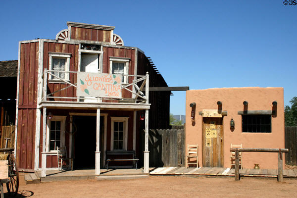 Heritage board + baton & adobe buildings moved to Pioneer Living History Museum for preservation. Phoenix, AZ.