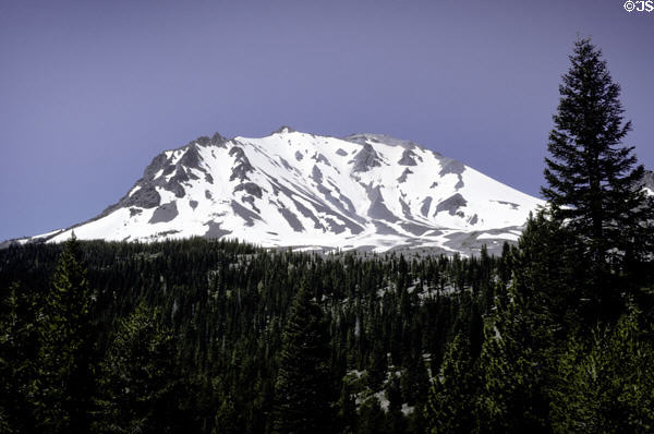 Snow capped peak in Lassen Volcanic National Park. CA.