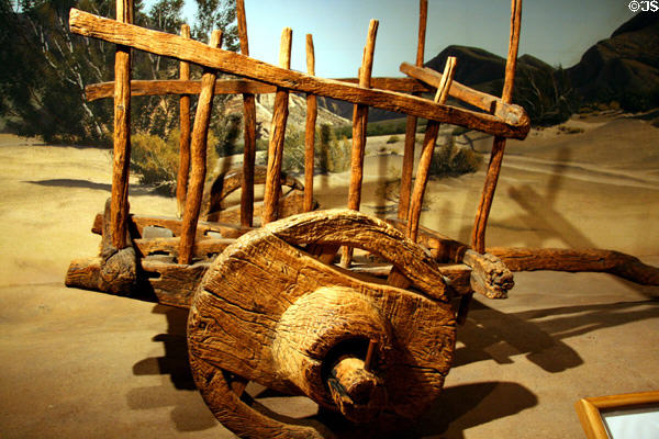 Spanish-style carreta oxcart (c18th C) at LA County Natural History Museum. Los Angeles, CA.