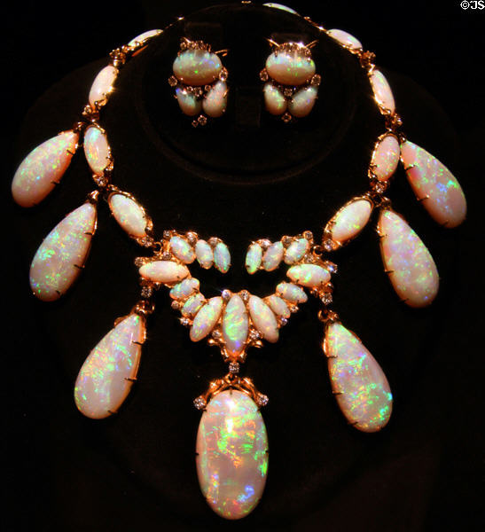 Opal necklace owned by Jack Lord movie star in mineral collection at LA County Natural History Museum. Los Angeles, CA.