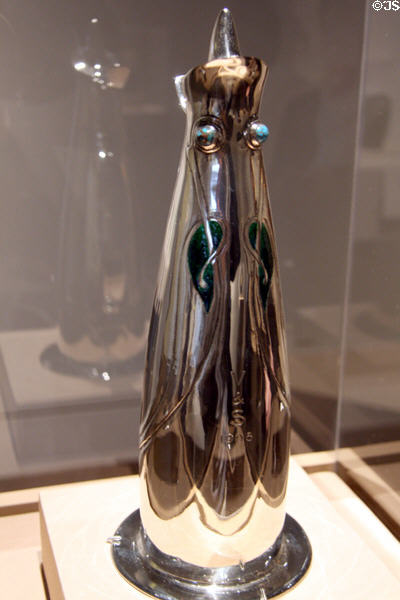 Celtic revival silver flagon (1901) by Archibald Knox at LACMA. Los Angeles, CA.