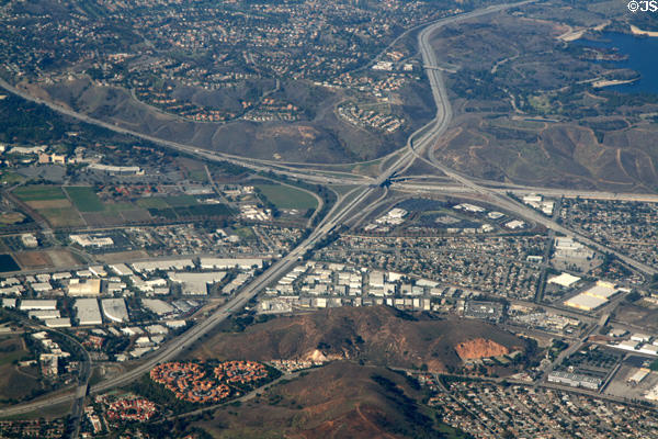 Aerial view of Interchange of San Bernadino, Orange & Chino Valley Freeways. CA.