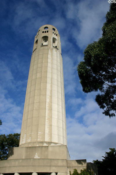 Coit Tower (1933) on Telegraph Hill is 180 feet tall. San Francisco, CA. Style: Art Deco. Architect: Henry Howard.