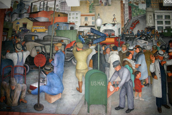 City life mural by Victor Arnautoff (1934) in Coit Tower. San Francisco, CA.