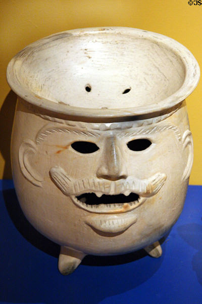 Chinautla pottery bowl of face with mustache (1950s) from Guatemala at Museo de las Americas. Denver, CO.