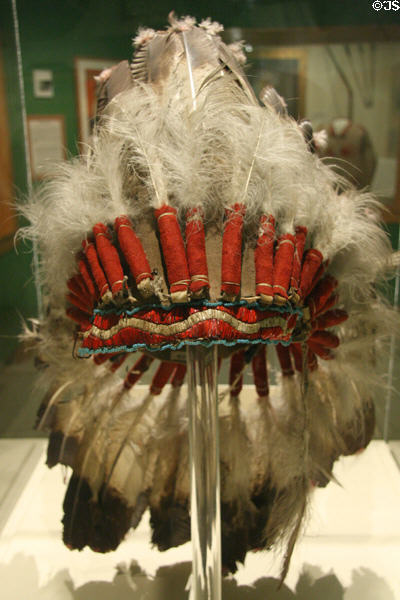 Feather headdress of Short Bull who performed in Cody's Wild West show at Buffalo Bill Museum. Lookout Mountain, CO.