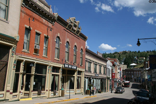 Main Street streetscape against hills. Central City, CO.
