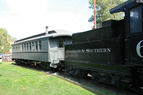 Colorado & Southern rail passenger coach #70 1896 built by St. Charles Coach Company at Idaho Springs City Hall. Idaho Springs, CO.