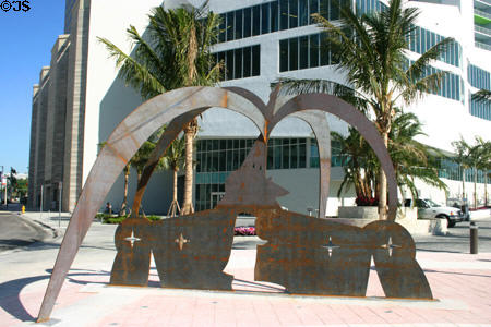 Steel sculpture at Miami intersection. Miami, FL.
