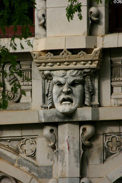 Carved scowling face on Imperial Theatre. Augusta, GA.