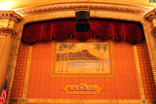 Curtain with image of Diamond Head in Hawaii Theatre. Honolulu, HI.