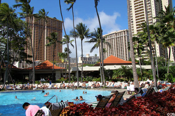 Pool area of Hilton Hawaiian Village. Waikiki, HI.