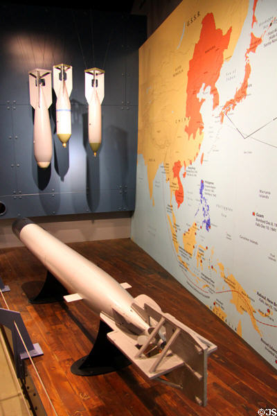 Replicas of Japanese bombs & shallow-water torpedoes used at Pearl Harbor in Arizona Memorial museum. Honolulu, HI.