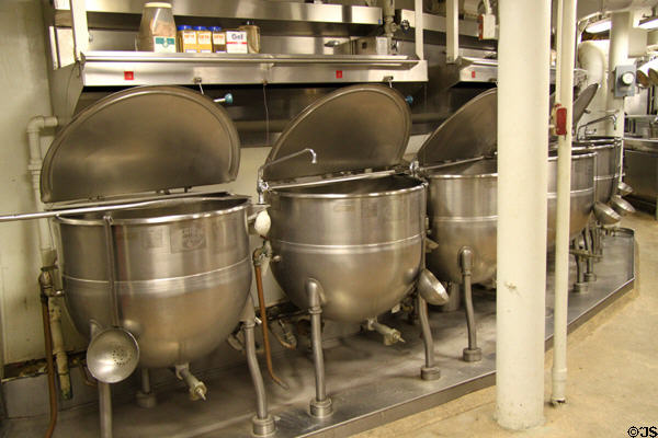 Food kettles surrounding cylindrical turret support of USS Missouri. Honolulu, HI.