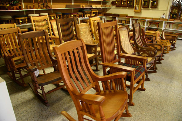 Amana-style rocking chairs at Krauss Furniture Factory. South Amana, IA.