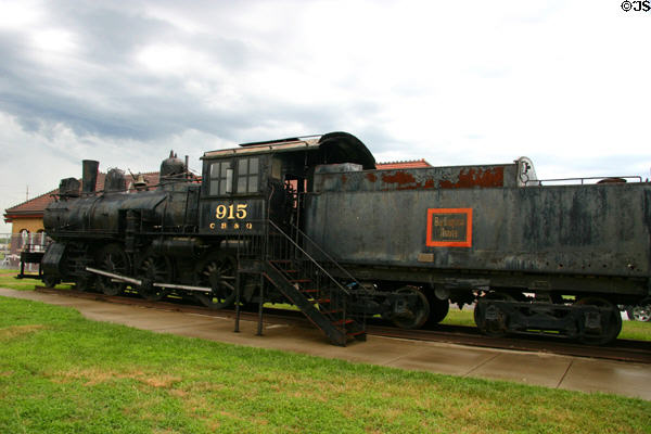 Chicago, Burlington & Quincy (CB&Q) steam locomotive 915 for Burlington Route at Railwest Museum. Council Bluffs, IA.