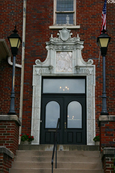 Entrance to Hoyt Sherman mansion (1877) built by the youngest brother of Civil War General William Tecumseh Sherman. Des Moines, IA. On National Register.