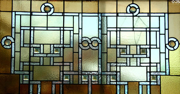 Stained glass window (1889) by Louis Sullivan from reception desk of Auditorium Building Hotel at Stained Glass Museum. Chicago, IL.