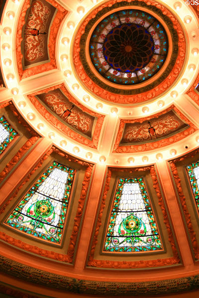 Stained glass details of skylight dome of Senate chamber of Mississippi State Capitol. Jackson, MS.