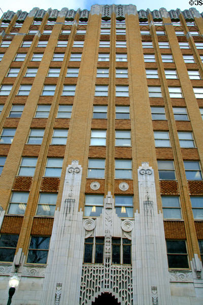 Plaza Building (1929) (120 N Congress). Jackson, MS. Style: Art Deco. Architect: N.W. Overstreet. On National Register.