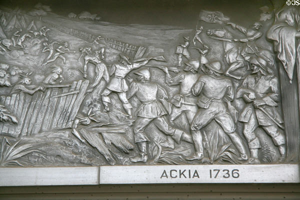Cast aluminum scene from Battle of Ackia 1736 at War Memorial Building. Jackson, MS. Style: Art Deco.