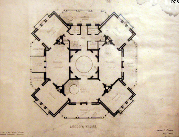 Original blueprint of Longwood second floor level. Natchez, MS.
