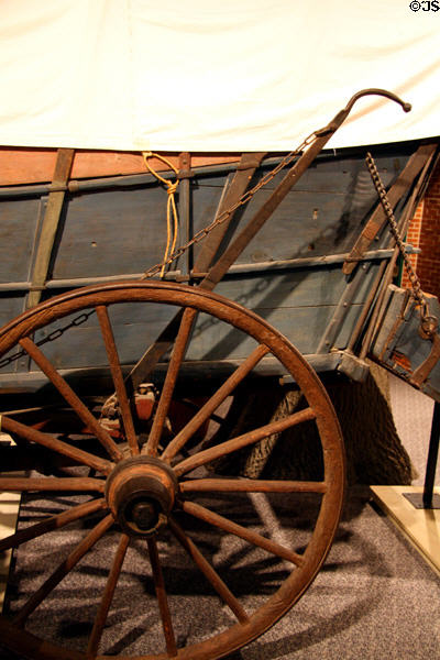 Brake on covered wagon at Durham Western Heritage Museum. Omaha, NE.