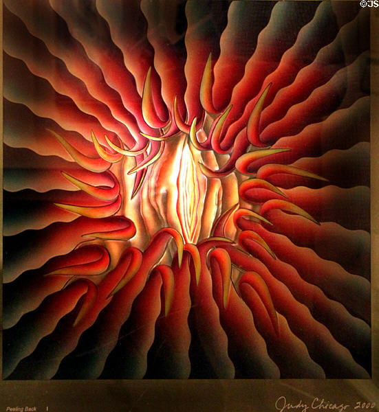 Peeling Back painting (2000) by Judy Chicago at New Mexico Museum of Art. Santa Fe, NM.