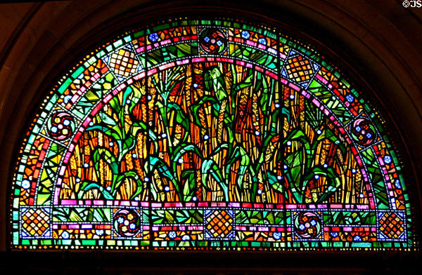Stained glass in Governor's reception room showing corn agriculture in New York State Capitol. Albany, NY.