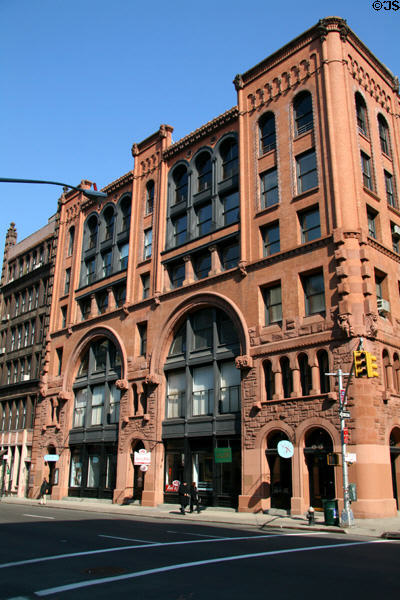 Romanesque Revival brownstone (484 Broome St. at Wooster St.). New York, NY.