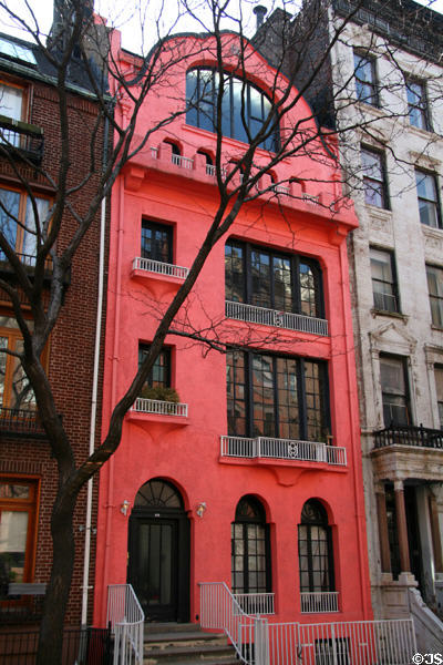 Jugenstihl type row house at 114 Waverly Place off Washington Square. New York, NY.