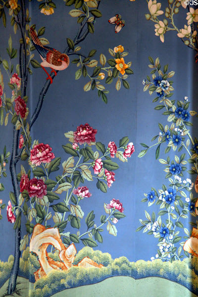Reproduction of hand-painted Chinese wallpaper as would have been used in Octagonal drawing room of Morris-Jumel Mansion. New York, NY.