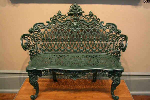 Cast iron bench possibly from New Orleans (c1870) at Toledo Museum of Art. Toledo, OH.