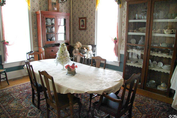 Dining room in John Wright Mansion at Historic Lyme Village Museum. Bellevue, OH.