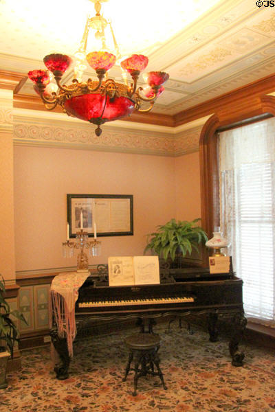 Piano by Weber of New York belonging to Ida Saxton McKinley in parlor at Ida Saxton McKinley Historic House. Canton, OH.