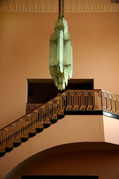 Interior lamp & stairway of Boston Avenue Methodist Church. Tulsa, OK.