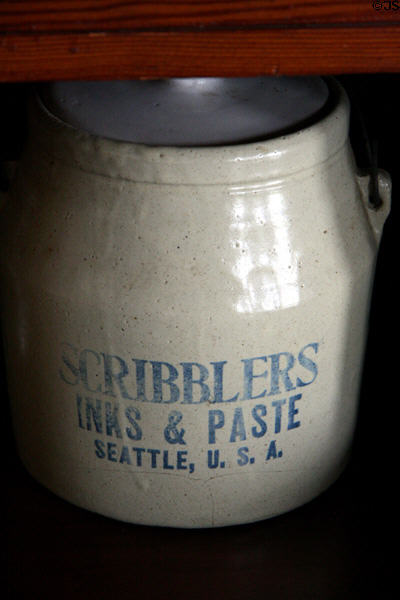 Stoneware crock from Scribblers Inks & Paste of Seattle in Hovander Homestead house. Ferndale, WA.